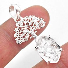 7.69cts natural white herkimer diamond 925 silver tree of life pendant t49057
