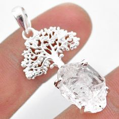 6.84cts natural white herkimer diamond 925 silver tree of life pendant t49075