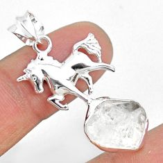 9.32cts natural white herkimer diamond 925 sterling silver horse pendant r73656