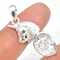 7.04cts natural white herkimer diamond 925 sterling silver horse pendant r80951