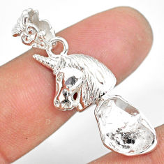 6.84cts natural white herkimer diamond 925 sterling silver horse pendant r80958