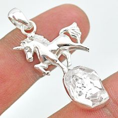 7.67cts natural white herkimer diamond 925 sterling silver horse pendant t29661