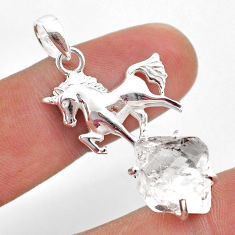 8.14cts natural white herkimer diamond 925 sterling silver horse pendant t49052
