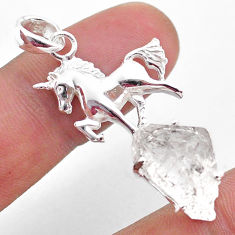 7.84cts natural white herkimer diamond 925 sterling silver horse pendant t49058