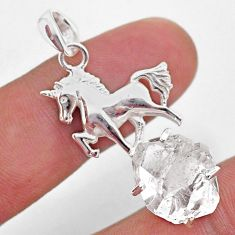 7.66cts natural white herkimer diamond 925 sterling silver horse pendant t49060