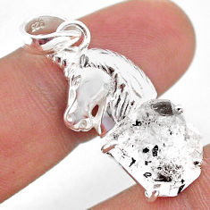 6.83cts natural white herkimer diamond 925 sterling silver horse pendant t49061
