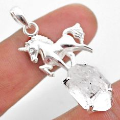 8.42cts natural white herkimer diamond 925 sterling silver horse pendant t49064