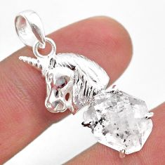 7.62cts natural white herkimer diamond 925 sterling silver horse pendant t49068