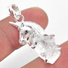 8.14cts natural white herkimer diamond 925 sterling silver horse pendant t49070