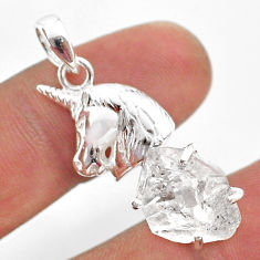 7.63cts natural white herkimer diamond 925 sterling silver horse pendant t49071