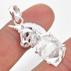 7.83cts natural white herkimer diamond 925 sterling silver horse pendant t49073