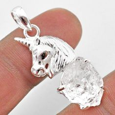 7.83cts natural white herkimer diamond 925 sterling silver horse pendant t49076