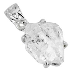 13.01cts natural white herkimer diamond 925 sterling silver pendant r56745