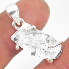 11.08cts natural white herkimer diamond 925 sterling silver pendant r85338