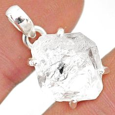 11.62cts natural white herkimer diamond 925 sterling silver pendant r85353