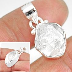 9.80cts natural white herkimer diamond 925 sterling silver pendant r85389