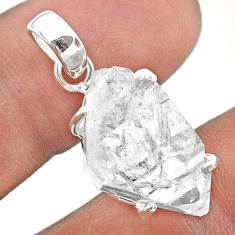 13.08cts natural white herkimer diamond 925 sterling silver pendant t49584