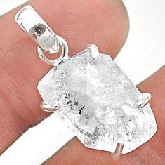 12.66cts natural white herkimer diamond 925 sterling silver pendant t49598