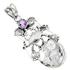 16.92cts natural white herkimer diamond amethyst 925 silver crab pendant d44971