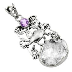 Clearance Sale- 17.36cts natural white herkimer diamond amethyst 925 silver crab pendant d44975