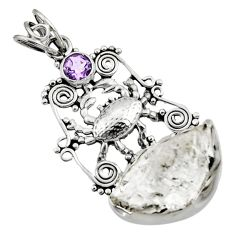 18.47cts natural white herkimer diamond amethyst 925 silver crab pendant d44980