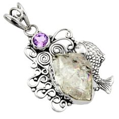 14.72cts natural white herkimer diamond amethyst 925 silver fish pendant d44979
