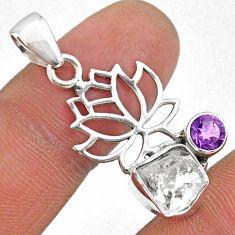 6.52cts natural white herkimer diamond amethyst 925 silver flower pendant r61409