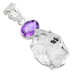 19.58cts natural white herkimer diamond amethyst 925 silver pendant r57099