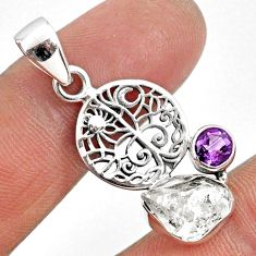 6.15cts natural white herkimer diamond amethyst 925 silver pendant r61392