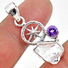 6.52cts natural white herkimer diamond amethyst 925 silver pendant r61395