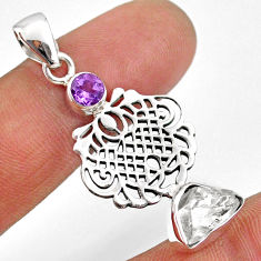 7.15cts natural white herkimer diamond amethyst 925 silver pendant r61417