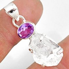 13.68cts natural white herkimer diamond amethyst 925 silver pendant r87779