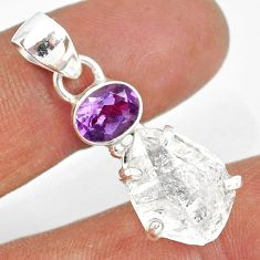 12.56cts natural white herkimer diamond amethyst 925 silver pendant r87780