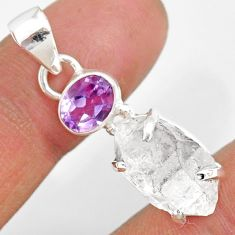 11.62cts natural white herkimer diamond amethyst 925 silver pendant r87785