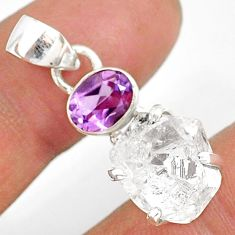 12.09cts natural white herkimer diamond amethyst 925 silver pendant r87790