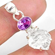 10.48cts natural white herkimer diamond amethyst 925 silver pendant r87799