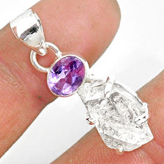 11.08cts natural white herkimer diamond amethyst 925 silver pendant r87811
