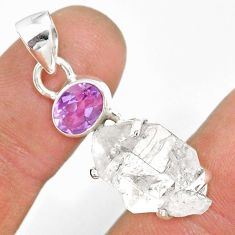 12.71cts natural white herkimer diamond amethyst 925 silver pendant r87817