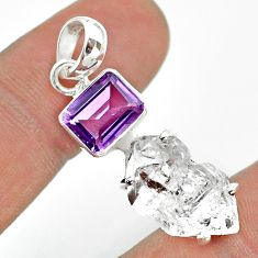 13.05cts natural white herkimer diamond amethyst 925 silver pendant t49505