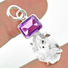 13.08cts natural white herkimer diamond amethyst 925 silver pendant t49511