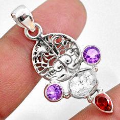 9.61cts natural white herkimer diamond amethyst garnet 925 silver pendant r61310