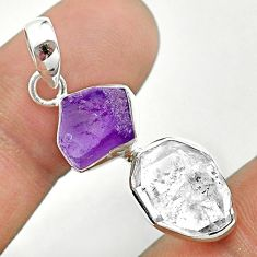 9.37cts natural white herkimer diamond amethyst raw 925 silver pendant t49174