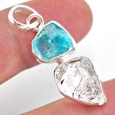 9.80cts natural white herkimer diamond apatite raw 925 silver pendant t49201