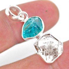9.80cts natural white herkimer diamond apatite raw 925 silver pendant t49203