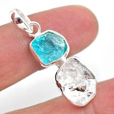 10.79cts natural white herkimer diamond apatite raw 925 silver pendant t49206