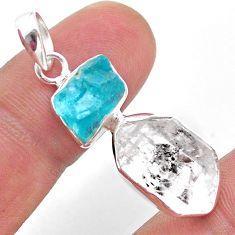 12.10cts natural white herkimer diamond apatite raw 925 silver pendant t49213