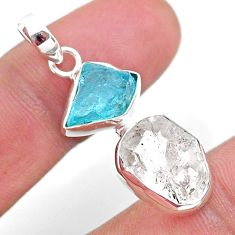 9.80cts natural white herkimer diamond apatite raw fancy silver pendant t49208