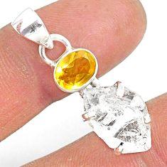 11.08cts natural white herkimer diamond citrine 925 silver pendant r87763
