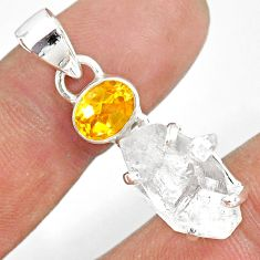 12.19cts natural white herkimer diamond citrine 925 silver pendant r87770