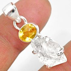 11.08cts natural white herkimer diamond citrine 925 silver pendant r87782